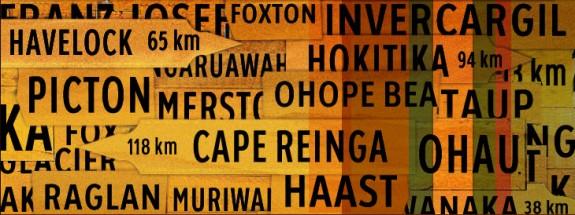 Signposts digital image header for teara.govt.nz (after Rosalie Gascoigne)